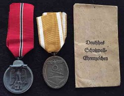 Nazi Eastern Front Medal and Westwall Medal with Envelope...$50 SOLD