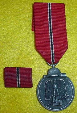 Nazi Eastern Front Medal with Matching Ribbon Bar...$50 SOLD