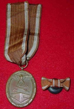 Nazi Westwall Medal with Lapel Ribbon Bow...$40 SOLD