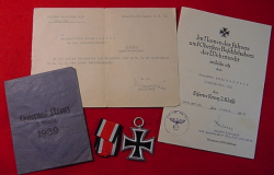 Nazi Iron Cross Award Documents, Medal and Envelope to Pioneer Soldier...$195 SOLD