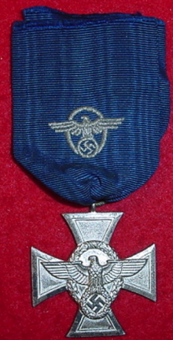 Nazi Police 18-Year Long Service Cross with Marked Ring...$125 SOLD