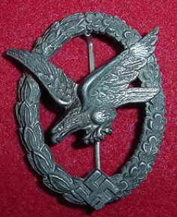 Nazi Luftwaffe Air Gunner Badge without Lightning Bolts by Deumer...$185 SOLD
