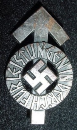 Original Nazi Hitler Youth Leistungen Badge in Silver with Serial Number...$75 SOLD