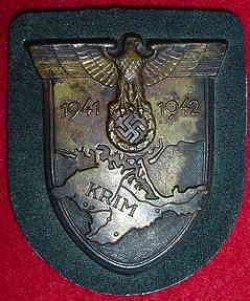 Nazi Krim Campaign Sleeve Shield with Army Wool Backing...$250 SOLD