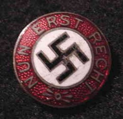 "Nazi ""Nun Erst Recht"" Enameled Badge...$70 SOLD"