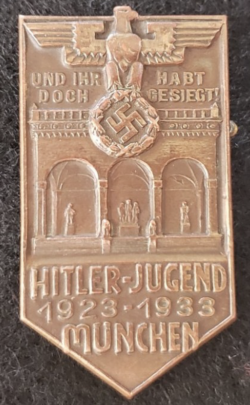 Nazi 1933 Hitler Youth Munich Badge...$95 SOLD