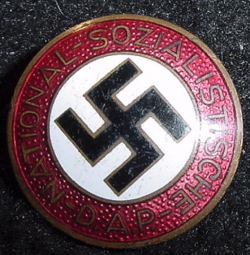 "Nazi NSDAP Party Pin with Unusual ""6."" Marking...$75 SOLD"