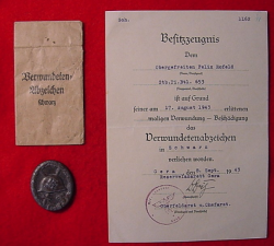 Nazi Black Wound Badge with Award Document to Pioneer Soldier...$115 SOLD