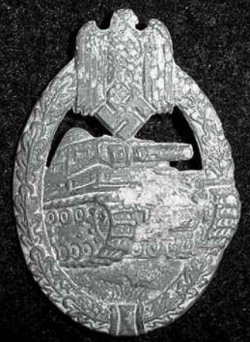Nazi Tank Assault Badge in Silver by E. Ferdinand Wiedmann...$125 SOLD