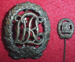 Nazi DRL Sports Badge in Bronze with Stickpin...$95 SOLD