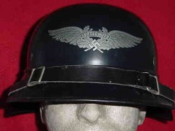 "Nazi Luftschutz ""Gladiator-Style"" Helmet with Liner and Chin Strap...$350 SOLD"