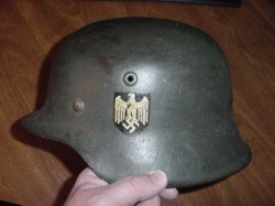 Nazi Kriegsmarine M42 Single Decal Helmet Shell with Liner Band...$575 SOLD