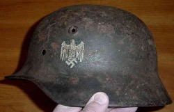 Nazi Army Single Decal M40 Helmet Shell with Soldier's Name...$300 SOLD