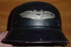 Nazi Luftschutz Helmet with Liner and Chinstrap...$295 SOLD