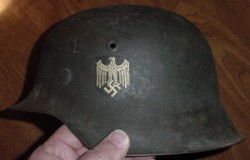 Nazi Army M42 Single Decal Combat Helmet with Partial Liner...$395 SOLD