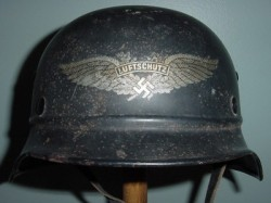 Nazi Luftschutz Helmet with Liner and Chinstrap...$200 SOLD