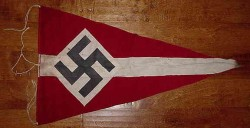 Nazi Hitler Youth Pennant with Pole Ties...$150 SOLD