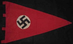Nazi Swastika Double-Sided Pennant with Cloth Pole Tabs...$115 SOLD