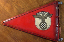 Nazi NSKK Vehicle Pennant with Steel Framed Celluloid Holder...$295 SOLD