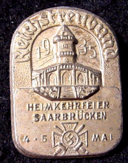 Nazi 1935 Veterans' Saarbrucken Tinnie Badge...$25 SOLD