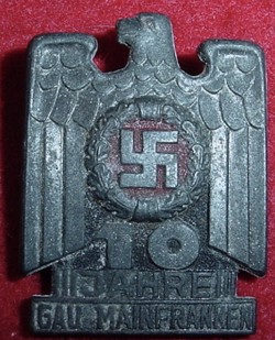 "Nazi ""10 Jahre Gau Mainfranken"" Tinnie Badge...$30 SOLD"
