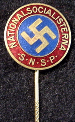 Rare Swedish Nazi National Socialist SNSP Party Stickpin Badge...$225 SOLD