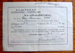"Nazi 1936 SA ""Storm Trooper"" Vacation Pass Document...$25 SOLD"