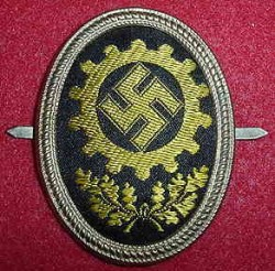 Nazi DAF Visor Hat Badge...$40 SOLD