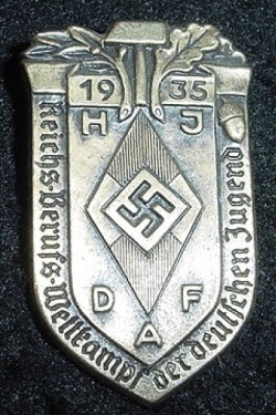 Nazi 1935 HJ-DAF Joint Competition Tinnie Badge...$45 SOLD