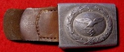 Nazi Luftwaffe EM Belt Buckle with Leather Tab by J C Maedicke of Berlin...$95 SOLD
