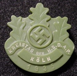 "Nazi 1935 Köln ""Kreistag der NSDAP"" Badge...$35 SOLD"