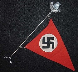 Nazi Car Pennant with Nickeled Metal Pole and RAD Poletop...$375 SOLD